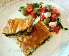 Forking Foodie: Spinach and Feta Filo Pie - Spanakotiropita / Spanakopita (includes Thermomix method)