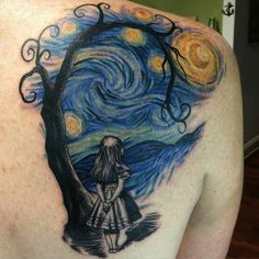 Tim Burton inspired Starry Night/ Alice in Wonderland tattoo