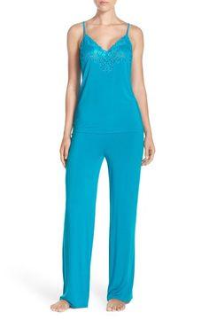 NATORI $160 FEATHERS JERSEY CAMI TANK PJS CARIBE BLUE PJ SET PAJAMAS XL A76502 #Natori #PajamaSets