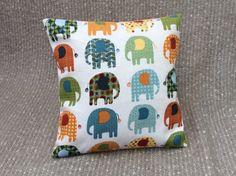 Items similar to Handmade Elephant Print Cushion - Multicoloured Pattern - Orange Stripe Reverse on Etsy White Cushion Covers, Printed Cushions, Elephant Print, Green Stripes, Easy Access, Color Splash, Sally, Playroom, Print Patterns