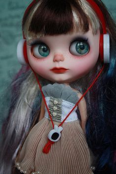 Blythe Doll... Looks like she was passionately singing to the pont of tears