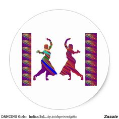 DANCING Girls :  Indian Bollywood Style Dance Classic Round Sticker