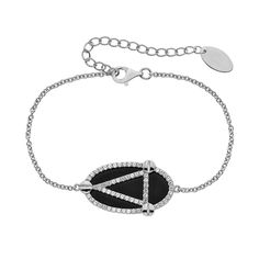 "Onyx & Lab-Created White Sapphire Sterling Silver Oval Link Bracelet, Women's, Size: 6.5"", Black"