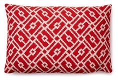 Mere 12x18 Cotton Pillow, Red