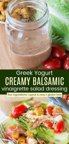 Greek Yogurt Creamy Balsamic Vinaigrette - an easy, healthy salad dressing recipe made with only five ingredients. Rich and creamy, but made lighter with Greek yogurt, this homemade dressing is naturally gluten free. #saladdressing #glutenfree #healthyrecipes Greek Yogurt Salad Dressing, Yogurt Salad Dressings, Salad With Balsamic Dressing, Creamy Salad Dressing, Vinaigrette Salad Dressing, Greek Salad Pasta, Salad Dressing Recipes, Creamy Greek Dressing Recipe, Pasta With Yogurt