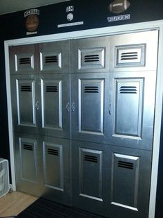 Easy project for your kids room. Closet doors painted to look like lockers