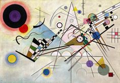 Vasily (Wassily) Kandinsky (Russian; 1866-1944).  Composition 8 (Compsition VIII), 1923. Oil on canvas; 55 1/8 x 79 1/8 inches. Solomon R. Guggenheim Museum, New York, Solomon R. Guggenheim Founding Collection, By gift.