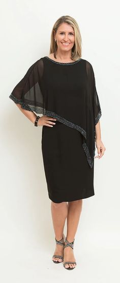 Description: Layered Chiffon Oversize Overlay Dress with Full Lining. Beaded Detailing at Rounded Neckline and Hemline. Hides all those unwanted Lumps and Bumps