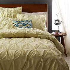 Organic Cotton Pintuck Duvet Cover + Shams - Bamboo #westelm