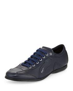 N2N9V Salvatore Ferragamo Mille 6 Low-Top Sneaker, Navy