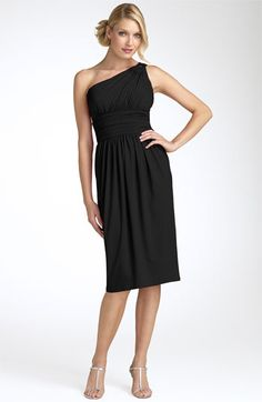mother of the bride dress, Maggy London one shoulder dress with a ruched waist - a perfect little black dress!