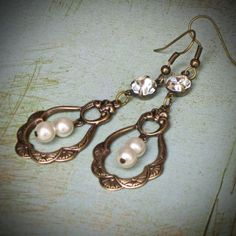 Vintage Rhinestone Earrings, Bride, Wedding, Swarovski, Pearl, Brass, Cream, jewelry by Rewelliott on Etsy