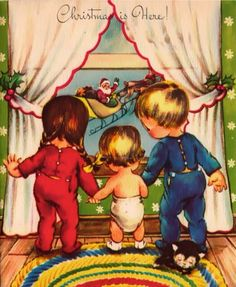 Vintage Pollyanna Christmas card with children looking out a window and seeing Santa Claus and his sleigh.