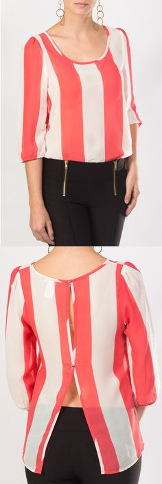 ¿con qué combinaría esta linda blusa KAMI de chiffon de colores coral y blaca? Dress Skirt, Coral, Womens Fashion, Skirts, Outfits, Shopping, Tops, Dresses, Blouse Models