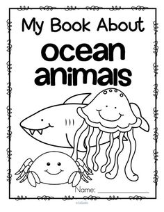 Set of 12 activity pages about ocean animals. Jellyfish, octopus, dolphin, fish, seahorse, shark, whale, oyster, sea star, crab, sea turtle.