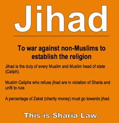 Jihad: To war against non-Muslims to establish the religion. This is Sharia Law. So Muslims are supporting Jihad, DON'T be FOOLED! They support it physically or financially. However barry . supports them both ways! Only he uses OUR money (MILLIONS) & OUR defenses.. like F-16 Fighters to support them! TREASON!