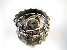 Signed Kenneth J Lane KLJ vintage flexible coil snake wrist watch