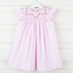 Floral and Vine Smocked Dress Pink Stripe Seersucker