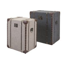 Designed by Trisha Yearwood as part of her Outer Banks collection, these storage trunks can be used as side tables or risers and double the storage. They feature oatmeal and blue linen covering with b