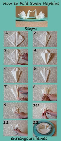 How To Fold A Swan Napkin Step By Step! Enrichyourlife.net  Enrichyourlife01@gmail