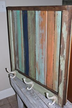 Another colorful piece to make.  It looks like she started with a vintage window frame and color washed beadboard? These Are a Few of My Favorite Things and a Surprise Linky Party!!