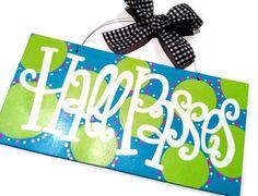 Hall Pass    6x12 Personalized Teacher Name Sign or Hall Pass. Custom Hand Painted Wood Sign Cute Teacher Gift, Classroom Door Hanger