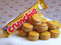 Crunchie macarons - Emily uses popular chocolate-coated honeycomb bar in the filling for these tempting macarons. Orange Recipes, Sweet Recipes, Crunchie Recipes, Basic Buttercream Recipe, Nutella Macarons, Coconut Biscuits, Macaron Recipe, Dessert Recipes, Desserts