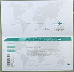 Hochzeitskarte Flugticket Weltkarte Airline ba723018