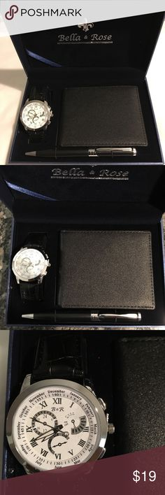 Men's Watch and Wallet Set NEW Bella & Rose Watch, Wallet and Pen Set. Condition is New without tags.   Thank you for viewing my product.  If you have any questions please contact me. Bella & Rose Accessories Watches