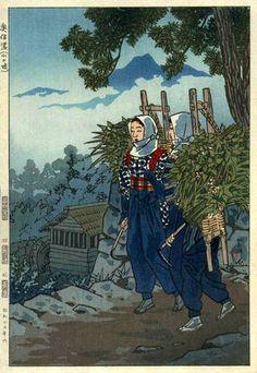 Mountain Path in Shinano (Girls of a Mountain Village), by Shiro Kasamatsu, 1954