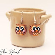 TUBBY owl earrings polymer clay by ElisaRadaelli on Etsy