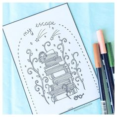 My escape.. #booklovers #coloringbookforadults Colouring, Coloring Pages, Planner Dashboard, Cute Planner, Planner Inserts, My Escape, Book Lovers, How To Draw Hands, Printables