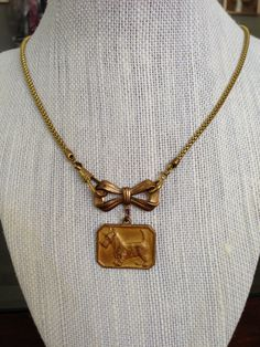 Vintage Scotty Dog Charm with Brass Bow and Watch Fob Chain Necklace