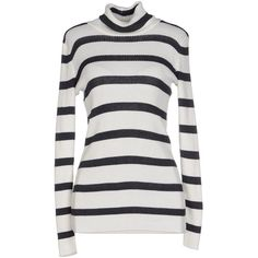 Circus Hotel Turtleneck ($165) ❤ liked on Polyvore featuring tops, sweaters, white, striped sweater, stripe sweater, striped turtleneck, cotton turtleneck sweater and long sleeve jumper