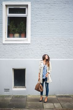 trench coat, chambray, ripped jean, heels