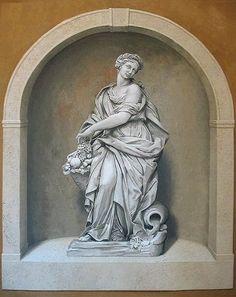 Niche stencil (with Abundance statue)