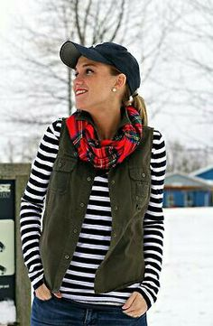 Stripes, army green vest, and plaid scarf