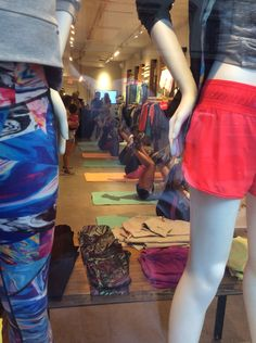 Yoga in the sportshop on 5th Avenue - weird ! We were told that they do get discounts on the items in the shop for joining these classes, so it's the new Tupperware!