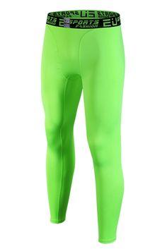 ab0c00d853c97e EU Men's Compression Tight Pants Base Layer Running Leggings Green X-Large.  Lightweight(