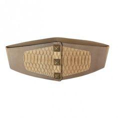 Cintura con elastico realizzata in pelle di Vacchetta col. Sabbia e inserto in Pitone