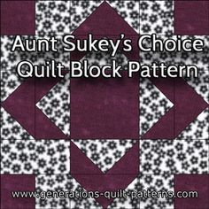 Aunt Sukey's Choice quilt block pattern in three sizes. Includes the free downloadable paper piecing pattern.