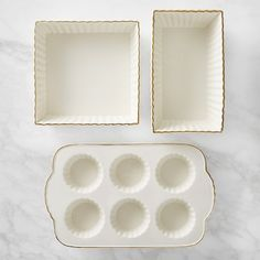 Williams Sonoma Gold-Rimmed Ceramic 3-Piece Bakeware Set #williamssonoma