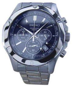 Seiko Chronograph Tachymeter Stainless Steel Quartz Sport 44mm Mens Watch 1990s