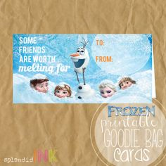 Frozen Bag Topper Cards Olaf You're a Cool Friend by SplendidINK