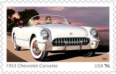 US Stamp - From its public unveiling in January 1953 at the GM Motorama in New York City, the Chevrolet Corvette captured the public's imagination with its sleek styling and sense of fun. A marked departure from other GM designs, its sporty appearance promised speed and high performance. Only 300 cars were produced in 1953, all hand-built in Flint, Michigan, and painted white with a red interior and a black convertible top. (General Motors Corvette Trademarks used under license to the USPS.)
