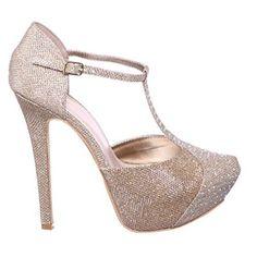 Stiletto High Heel Rhinestone Platform Pump Shoe with T-strap (6, gold) [Apparel]