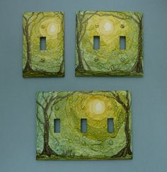 In The Forest - by Nina Dusa. Switch Plates Painted with Alcohol Ink