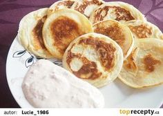 Tvarohové lívance ze špaldové mouky recept - TopRecepty.cz Food Inspiration, Detox, Pancakes, Eggs, Yummy Food, Healthy Recipes, Breakfast, Sweet, Fitness