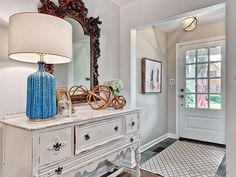 Really pretty foyer color Foyer Colors, Oversized Mirror, Pretty, Furniture, Home Decor, Decoration Home, Room Decor, Home Furnishings, Home Interior Design