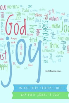 I did a visual word cloud of my blog's content over the last 10 weeks. Here is where some of my joy lives. How about yours?
